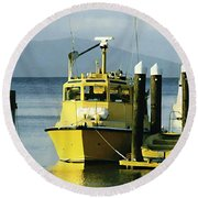 Yellow Boats Round Beach Towel by Ellen Henneke