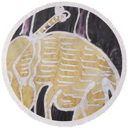 Yellow Brown Elephant In The Bush. Round Beach Towel