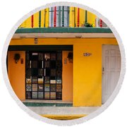 Yellow Buidling Mexico Round Beach Towel