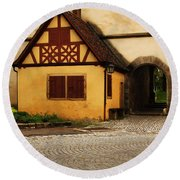 Yellow Building And Wall In Rothenburg Germany Round Beach Towel