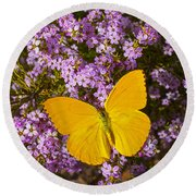 Yellow Butterfly On Pink Flowers Round Beach Towel