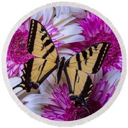 Yellow Butterfly Resting Round Beach Towel
