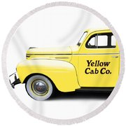 Yellow Cab Square Round Beach Towel