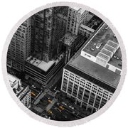 Yellow Cabs - Bird's Eye View Round Beach Towel