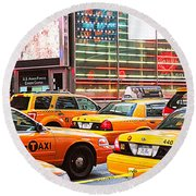 Yellow Cabs Round Beach Towel