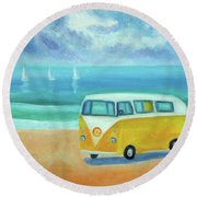 Yellow Camper Round Beach Towel