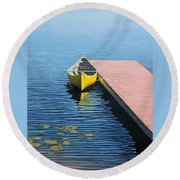 Yellow Canoe Round Beach Towel