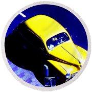 Yellow Car Round Beach Towel