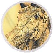 Yellow Carousel Horse Round Beach Towel