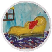 Yellow Chaise-red Pillow Round Beach Towel