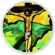 Yellow Christ  After Gauguin Round Beach Towel