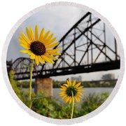 Yellow Cone Flowers And Bridge Round Beach Towel