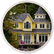 Yellow Cottage Round Beach Towel