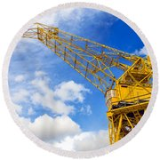 Yellow Crane And Sky Round Beach Towel