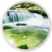 Yellow Creek Falls Great Smoky Mountains Round Beach Towel