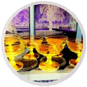 Yellow Cups Round Beach Towel