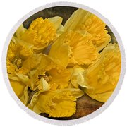 Yellow Daffodils And Texture Round Beach Towel