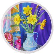 Yellow Daffodils Round Beach Towel