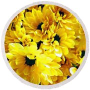 Yellow Daisies Round Beach Towel