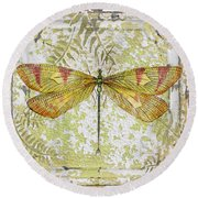 Yellow Dragonfly On Vintage Tin Round Beach Towel