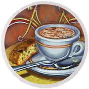 Yellow Dutch Bicycle With Cappuccino And Biscotti Round Beach Towel