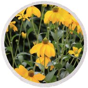 Yellow Echinacea Round Beach Towel