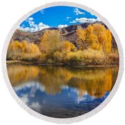 Yellow Fall Reflections Round Beach Towel