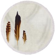 Yellow Feathers Round Beach Towel