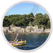 Yellow Fishing Boat - Cote D'azur Round Beach Towel