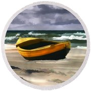 Yellow Fishing Dory Before The Storm Round Beach Towel