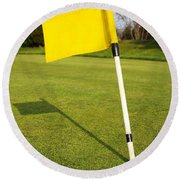Yellow Flag On The Green Round Beach Towel