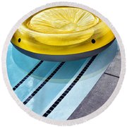 Yellow Float Palm Springs Round Beach Towel