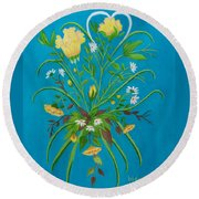 Yellow Floral Enchantment In Turquoise Round Beach Towel