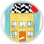Yellow Flower House Round Beach Towel by Linda Woods