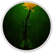 Yellow Flower In A Bottle I Round Beach Towel