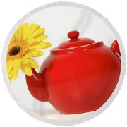 Yellow Flower In A Red Teapot Round Beach Towel