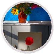 Yellow Flower In A Vase Of Clay. Round Beach Towel