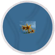 Yellow Flower On Blue Sky Round Beach Towel