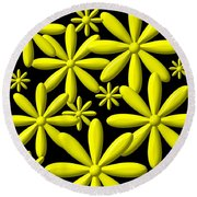 Yellow Flower Power 3d Digital Art Round Beach Towel