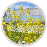 Yellow Flowers And A White Fence Round Beach Towel