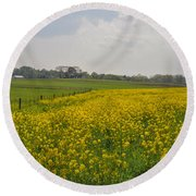 Yellow Flowers In A Field Round Beach Towel