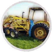 Yellow Ford Tractor Round Beach Towel