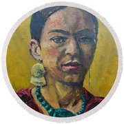 Yellow Frida Round Beach Towel