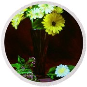 Yellow Gerbera Round Beach Towel