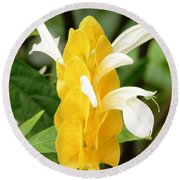 Yellow Ginger Blossom Round Beach Towel
