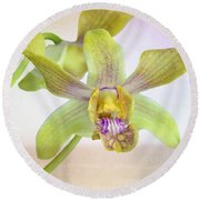 Yellow-green Orchid Round Beach Towel