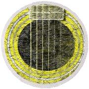 Yellow Guitar - Digital Painting - Music Round Beach Towel