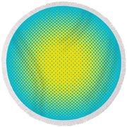 Optical Illusion - Yellow On Aqua Round Beach Towel