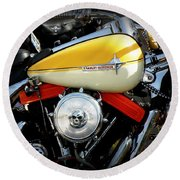 Yellow Harley Round Beach Towel by Lainie Wrightson