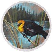 Yellow Headed Black Bird Round Beach Towel